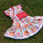 Japanese style Kimono dress - cream pink cherry blossom - higgi handmade